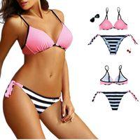Beachwear Women's Swimwe Mujer Solid Striped Swimsuit Women 2 Pieces Push Up Backless Swimming Suit Thong Bikini Set Bikinis Brasileiro 2021