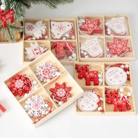 Christmas Decorations Nordic Wooden Pendant Snowflake Five-pointed Star Elk Tree Decoration