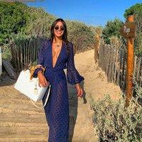 2021Acrega Longa Maxi Dress Mulheres Praia Cobertura Up Túnica Pareo Branco V Pescoço Vestido Robe Swimwear Beachwear Vestidos Casuais Vestidos