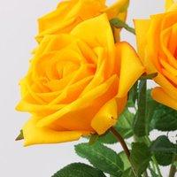여러 가지 빛깔의 보습 장미 꽃 단일 줄기 좋은 품질의 인공 꽃 결혼식 장식 bwe6580