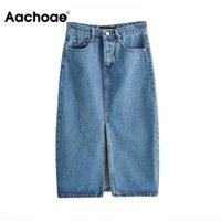 Aachoae Sexy Denim Donne Fashion Split Mid Lunghezza vitello Gonne Vintage Pocket Blue Saia Ladies High Vita Midi Gonna 210329
