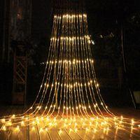Dizeleri Açık Noel LED Şelale Meteor Duş Yağmur Dize Işık 3 * 3 M 320 Düğün Perde Icicle Peri Garland Bahçe