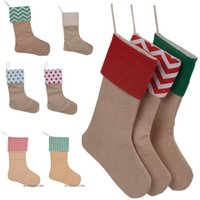 Blank Linen Christmas Stocking Kid Gift Bags Xmas Stockings Ornament Large Size Plain Burlap Decorative Socks Pendant Home Party Decoration