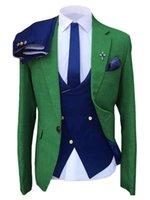 Costumes pour hommes Blazers Solution Solution Solution Vert Slim Slim Casual Trois pièces Personnalisation de la sortie