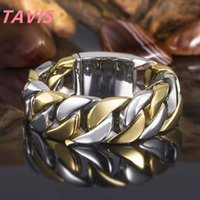 Punk Silver gold contrast color chain ring hip hop women men band rings fashion jewelry will and sandy punk rings gift