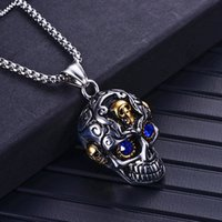 Fashion Men Party Jewelry Silver Stainless Steel Punk Skull Necklace Silver Necklaces Gold Mask Pendants for Gift