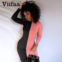 Viifaa черный и розовый цвет блокировки элегантный Bodycon вечеринка женское платье осень с длинным рукавом стройные дамы мини-платья вскользь
