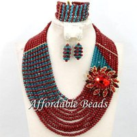 Earrings & Necklace Nigerian Beads Set Fashional African Jewelry Style Wholesale BN549
