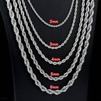 Collier en acier inoxydable de 2mm-5mm Collier torsadé chaîne de corde pour hommes Femmes 45cm-75cm Longueur avec sac en velours
