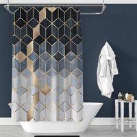 Водонепроницаемый ванна для ванны мраморные шаблон душевые занавески Геометрическая ванная комната напечатана для - 180x180см
