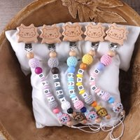 Baby Pacifier Holders Clips Chain Cartoon Animal Lion Wood Crochet Beads Soother Nipple Teether Dummy Strap