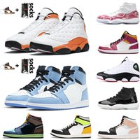 2021 con calcetines 25 aniversario medio Crimson Tinte 13s Zapatos de baloncesto Retro para mujer Mens Universidad Azul High Oscuro Mocha Cesta Zapatillas Zapatillas Sneakers Tamaño 47