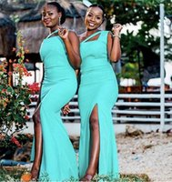 African Mint Turquoise Mermaid Long Bridesmaid Dresses One Shoulder Custom Made Stretchy Plus Size Wedding Guest Gowns Maid Of Honor Dresses With Side Split