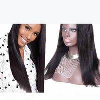 130Density U Parça Peruk Bakire Saç Işlenmemiş Brezilyalı İpek Düz U Bölüm İnsan Saç Peruk Siyah Kadınlar Için Kayış Ile
