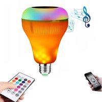 Lâmpada de chama lâmpada E27 LED inteligente RGB sem fio Bluetooth Music Speaker Lâmpada Luz Dimmable com 24 Keys Controle Remoto 12w