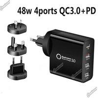 48W 빠른 충전기 PD 타입 C 4USB 포트 충전기 전화 11 12 삼성 노트 20 태블릿 QC 3.0 빠른 충전기 US EU AU UK 플러그 어댑터