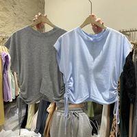 Women's T-Shirt Niche Design Side Shirring Sleeveless Sexy Crop Tops Office Lady Solid Women O-neck 2021 Summer Korean Fashion Tshirts