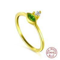 Solid Sterling Silver 925 Green Emerald CZ Dainty Ring Women lady Girl Party Jewelry Gift