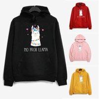 Women's Hoodies & Sweatshirts Cute Alpaca Printed Women Fleece Long Sleeve Loose Sweatshirt With Hat Girls Hoodie Pullovers Winter