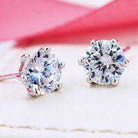 스터드 귀걸이 스털링 실버 반짝이 다이아몬드 크라운 패션 쥬얼리 결혼식 단결정 선물