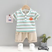 0-5Years Summer Infant Baby Boys Handsome Clothing Sets Kids Girls Striped Lapel T-shirt+Shorts Toddler Fashion Outfits