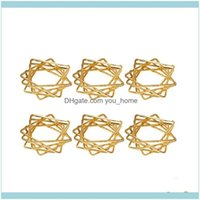 Table Decoration Aessories Kitchen, Dining Bar Home & Garden-6Pcs Polygon Star Design Napkin Rings Metal Holders For Wedding Birthday Party