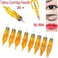 Tattoo Needles 20Pcs Disposable Professional Sterile Eyebrow Cartridge Needle Supply Permanent Makeup Machine Kit Accessories