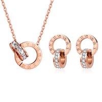 Luxury Elegante Amore Numero Numero Collana di cristallo Set per le donne Moda in acciaio inox pendente Designer Designer Designer Donna gioielli da sposa
