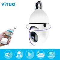 Interior PTZ Bulbo Wi-Fi IP Câmera Mini Tamanho Com Ajustável Soquete Ajustável Duas Way Talk Night Vision YCC365Plus App Control