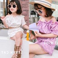 TG INS Cute Girl Summer Kids 2pcs Clothing Sets Off Shoulder Tshirt Skirt Outfits Children Tracksuit