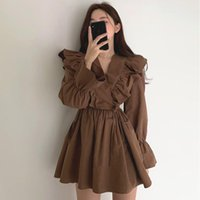 Casual Dresses Korean Chic Dress Early Spring V-neck Sexy Cross Ruffle Lace Up Waist Flared Sleeve Short Small