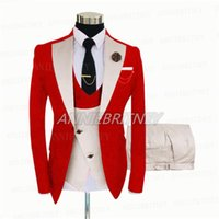 Men's Suits & Blazers Fashion Slim Fit Man Suit Groom Tuxedo Three Piece Tailor Made Wedding For