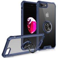 Boîtiers de téléphone portable pour iPhone 8 Plus Couvercle antichoc avec voiture Trong Magnétique 360 Rotation Bague en métal Soft TPU Clear PC robuste