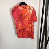 Women's T-Shirt 2021 Summer Fashion Women Luxury Custom Metal Buckle Tee Leaf Print Red All-Match Irregular Short-Sleeved Clothes