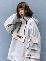 Multi bolsillo Tormentero Hiphop Costa Casual Media Zip Capucha con capucha Mujer Ropa de hombre Chaqueta antigua Estilo japonés Streetwear 211009