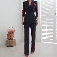 Женские брюки из двух частей Двухструктурные набор для платья формальная куртка костюмы с длинным рукавом Deep VELE Office вечерняя вечеринка Pantsuit JN1V