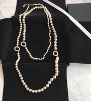 Popular fashion pearl sweater chain Beaded necklace for women Party Wedding jewelry for Bride with box HB521