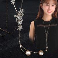 Halskette 2019 Blatt Perlen Halskette Frauen Herbst und Winter Vielseitige Zubehör Pullover Kette Mode Kleidung Anhänger