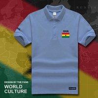 جمهورية غانا قمصان البولو الغاني الرجال قصيرة الأكمام العلامات التجارية البيضاء المطبوعة لفريق القطن القطن الأمة العلم جديد gha gh h0913