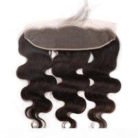 Körperwelle Lace Frontal Clock 13x4 Brasilianisches Reines Haar webt mittlere Teil Top Verschlüsse Unverarbeitete Spitze Frontal Haarteile Tolles Remy