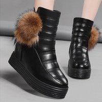 Rimocy Chunky Tacones ocultos Zapatillas de plataforma Mujeres Negro Impermeable Cuero Grueso Piel Tobillo Botas Mujer No Slip Zapatos de Mujer L8XV #