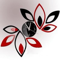 Fashion Home Decoration Mirror Living Room Bedroom Sofa TV Background Lotus DIY 3D Acrylic Wall Clock Stickers 9YVD 84E9