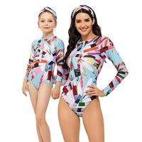 Sorties de plage pour enfants parent pour femmes 2021 maillot de bain 1 pièce Sexy maillot de bain un avec des filles pushup surf sur costume à manches longues animales d'une pièce