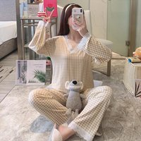 Plaid Home Clothes Girls Womens Sleepwears Simple Design Plus Size Soft Sweet Loose Pjs V Neck Lace Pajama Sets