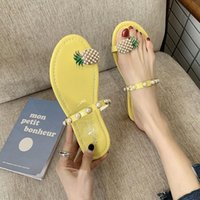 Sexy Women Slipper Pineapple Pearl Flat Toe Bohemian Casual Shoes Beach Sandals Ladies Shoes Platform Sandalias 2021 New Summer