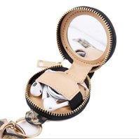 Key Chain Bracelet Pu Leather Tassels Bracelets Keychain Wristlet Bluetooth Headset Storage Box Makeup Bag with Mirror Earphone Hhc6344