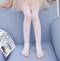 Ragazze amore cuore maglia stretta estate bambini cavità fiocchi floreali leggings sottili leggings traspiranti per bambini gancio di seta in seta di danza latina pantyhose Q0169