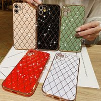 Luxury Fashion Designer Phone cases Cover For iPhone 12 11 XR 7 8, Glitter Sparkle Plating Lattice Unique Full Camera Lens Protection, Shockproof Edge Bumper TPU