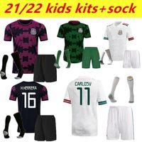 Kids Sock version 20 21 22 Mexico black training suit Soccer jerseys H.LOZANO DOS SANTOS CHICHARITO 2021 2022 national team home away sports