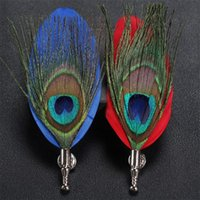 Men Suit Peacock Feather Brooches Pin Originality Manual Necktie Pins Personality Classic Jewelry Corsage